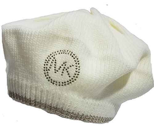 Michael Kors MK Gold Logo Beret, Cream