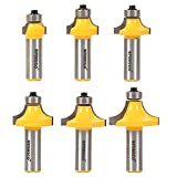 Yonico 13622 6 Bit Round Over Edge Forming Router Bit Set 1/2-Inch Shank