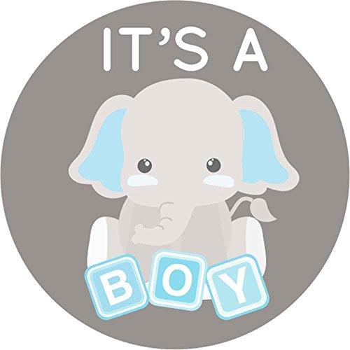 Blocks Boy Shower Baby (2 inch It's a Boy Stickers Gray Elephant Labels Set of 60 (It's a boy))