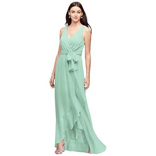 David's Bridal Ruffle-Trim Chiffon Faux-Wrap Bridesmaid Dress Style F19748, Mint, 18