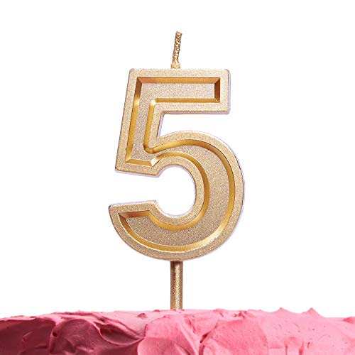 - Get Fresh Number 5 Birthday Candle - Gold Number Five Candle on Stick - Elegant Gold Number Candles for Birthday Anniversary Wedding - Perfect Baby's 5th Birthday Candle Cake Topper - Gold 5 Candle