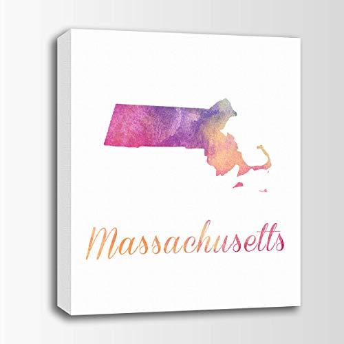 456Yedda Canvas Print Massachusetts Watercolor Art Massachusetts Map Personalized Art Watercolor Typography Art Nursery Art Bedroom Bathroom Decoration Wall Art Wall Decor