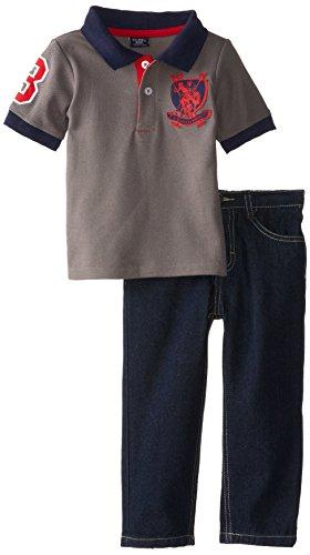 U.S. Polo Assn. Little Boys' Pique Polo and Denim Jean Set, Dark Grey, 2T Joker Jeans