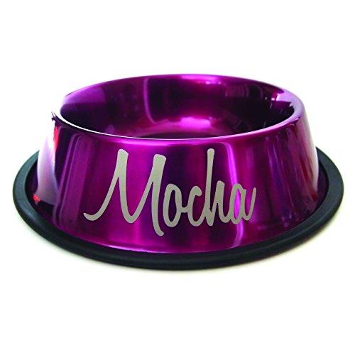 8oz Personalized Dog Bowl with Name Design (Metallic Magenta)