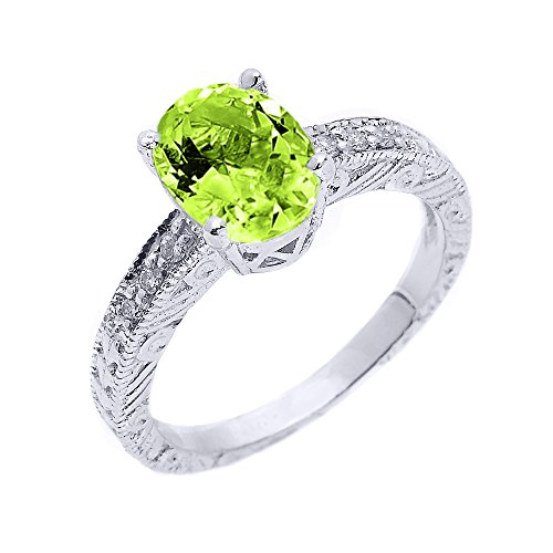 Sterling Silver Art Deco Peridot and White Topaz Birthstone Ring (Size 5)