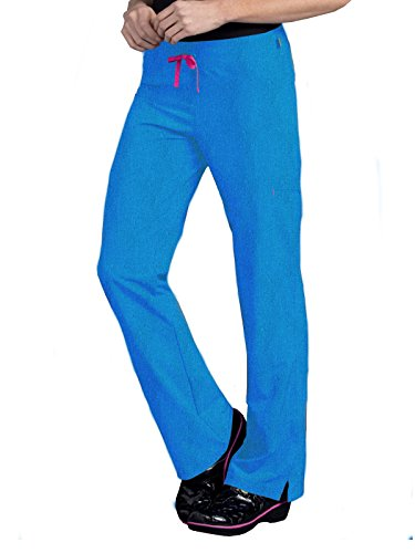 Smitten 'Amp Relaxed Fit Cargo Flare Pant' Scrub Bottoms Heather Blue X-Large ()