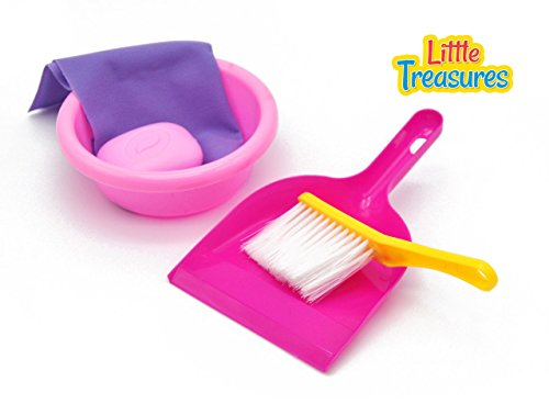 Little Treasures Little Helper 5-Piece Kids Pretend Play Cleaning Playset with Hand Broom for Ages 3 and up