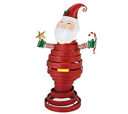 qvc metal bobble christmas decoration santa w flameless candle