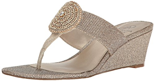 Adrianna Papell Women's Casey Wedge Sandal, Platino, 7.5 M US