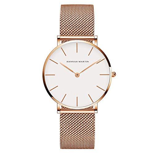 Ladies Luxury Simple Casual Analog Quartz Wrist Watches Gold Tone Women's Fashion Minimalist Watch Milanese Mesh Band Analog Gold Tone Wrist Watch