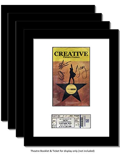Ticket Wall (CreativePF [4pk11x14-w] Black Theatre Frame with White Matting, Holds 5.5x8.5-inch Media Plus Ticket Including Installed Wall Hanger (Theatre Bill Not Included, Pack of 4))