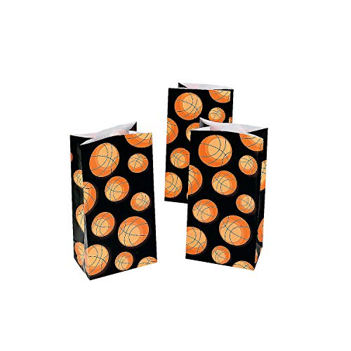 Fun Express - Basketball Print Paper Bags (dz) for Party - Party Supplies - Bags - Paper Treat Bags - Party - 12 Pieces
