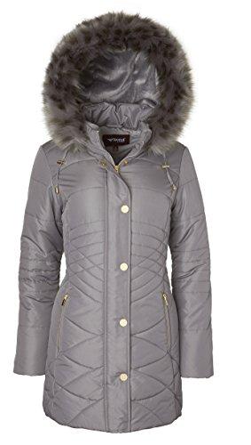 - Sportoli Women's Longer Length Plush Lined Puffer Coat and Zip-Off Detacheable Fur Trim Hood - Titanium (Medium)