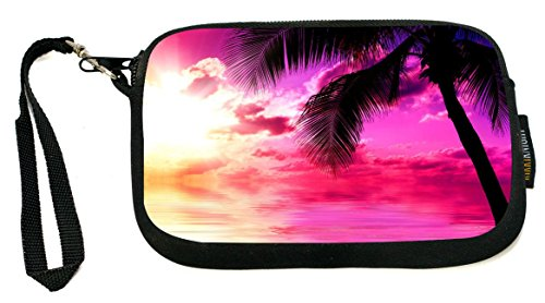 Rikki Knight Sunset on Beach - Neoprene Clutch Wristlet Coin Purse with Safety Closure - Ideal case for Cosmetics Case, Camera Case, Cell Phones, Passport, etc.. (Phone Cell 1100)