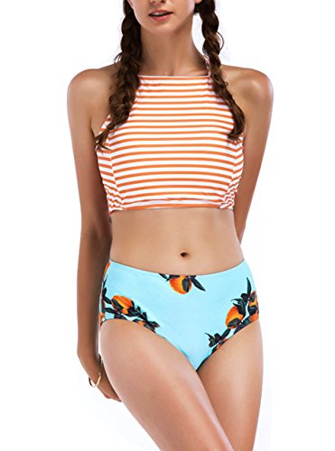 Tropical Beach Girl Bikini (Zity Bikini For Women,Girls High Waisted Spa Swimwear Removable Pads Orange L)