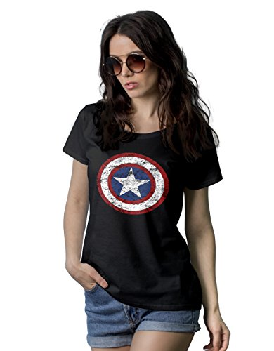 Womens Black Superhero Merchandise - CPT America Shirt | Light Distress, 2XL]()