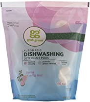 Grab Green Natural Dishwasher Detergent Pods, Thyme + Fig Leaf-With Essential Oils, 60 Count, Organic Enzyme-Powered, Plant