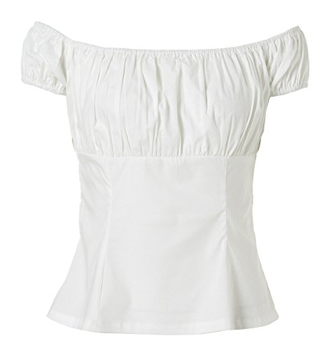 Kimring Women's Gothic Retro Jacquard Underbust corsé with Off Shoulder T-shirt Negro/Blanco