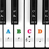 Piano Stickers for Keys, Eison Colorful Piano Keyboard Stickers for 88/61/54/49/37 Full Set Stickers Kids Learning Piano, Removable, Leaves No Residue, Multi-Color,Great Children's Gift