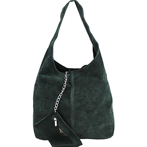 Green Dark NEW HOBO ZIPPED PURSE SUEDE CHAIN WOMENS SHOULDER LARGE BAG REAL PwvPqBHZ