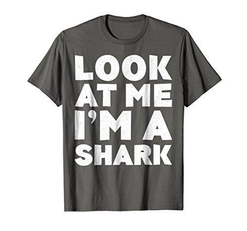 Mens Look At Me I'm A Shark T-Shirt Halloween Costume Shirt 2XL Asphalt