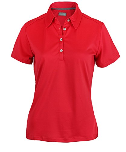 Ashworth Womens Clothing - Ashworth Women's Performance EZ-SOF Solid Polo (Small, True Red)