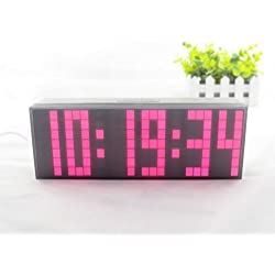 Yosoo Large Big 4 6 Digit Jumbo LED Digital Alarm Calendar Snooze Wall Desk Clock (pink, 6-digit version)