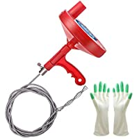 Caan's News Plumbing Auger 25 Feet, Professional Removing Sink Clog, Snake Bathtub Shower Drain, Comes with Gloves,