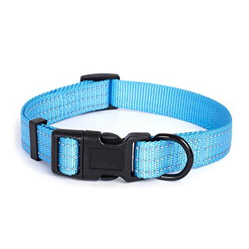 (Mile High Life Dog Collar | Nylon with Reflective Three 3M Straps | Hot Blue, Medium Neck 14