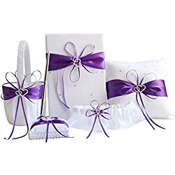 Awtlife 5pcs Sets Purple Wedding Flower Girl Basket Guest Book Pen with Ring Pillow and Garter