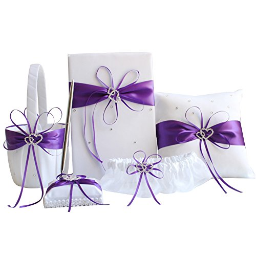 (Awtlife 5pcs Sets Purple Wedding Flower Girl Basket Guest Book Pen with Ring Pillow and Garter)