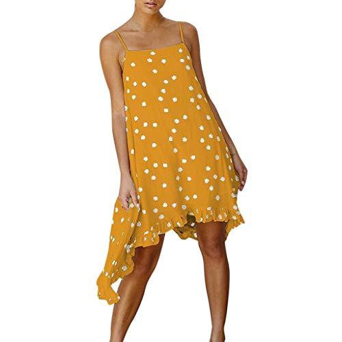 KASAAS Boho Dresses for Women Polka Dots Print Asymmetric Pleated Hem Loose Casual Fashion Summer Beach Mini Dress(Small,Yellow)
