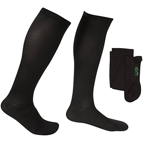 Diabetic Compression Moderate Support - EvoNation Men's USA Made Graduated Compression Socks 15-20 mmHg Moderate Pressure Medical Quality Knee High Orthopedic Support Stockings Hose - Best Comfort Fit, Circulation, Travel (Large, Black)