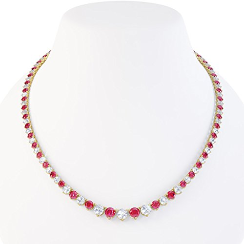 "Eternity Ruby et saphir blanc collier Tennis Argent (16 ""à 19 en or)"