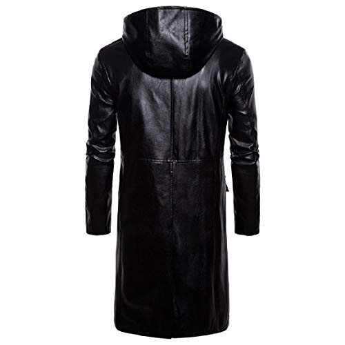 Coats Trench Thick Men's Coat Zips Long Mogogo with Leather Hoodie 1 Sleeved gETzqqwx
