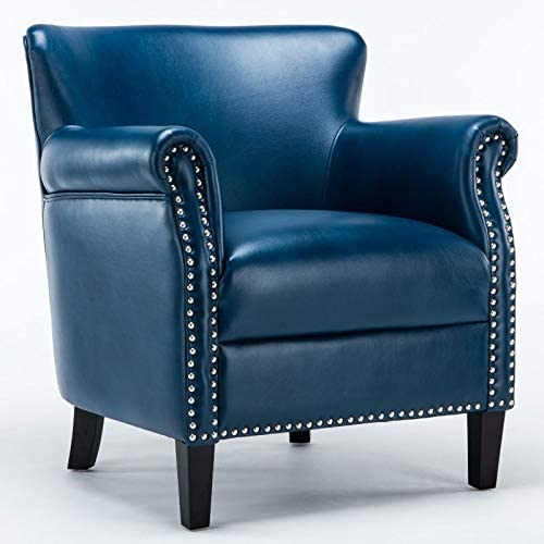 Comfort Pointe Holly Navy Blue Faux Leather Club Chair