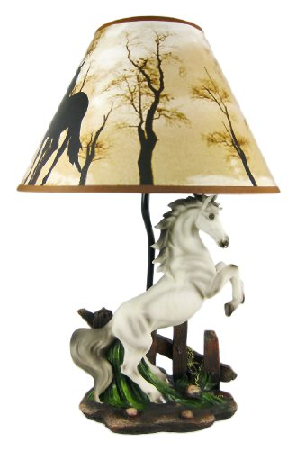 Ebros White Rearing Wild Horse Stallion Desktop Table Lamp With Nature Printed Shade Home Decor 19