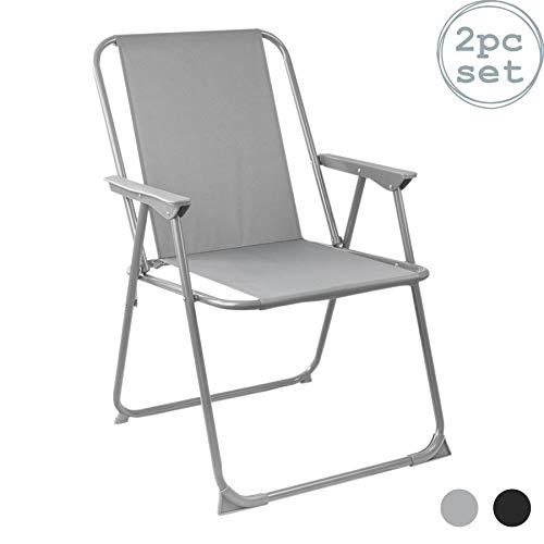 Harbour Housewares Folding Metal Beach Garden Camping Armchair – Grey – Pack of 2