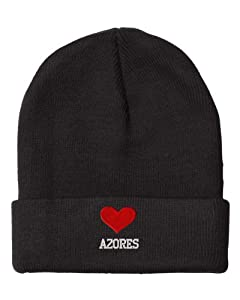 I Love Heart Azores Portugal City Embroidered Beanie Cap