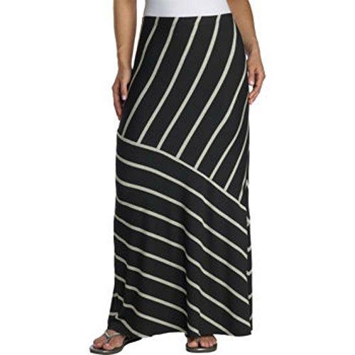 (Matty M Ladies Maxi Skirt (Medium, Black & Gray Stripe))