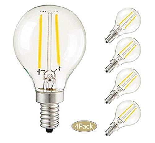 CTKcom 2W G45 Candelabra LED Bulbs Dimmable(4 Pack)- E14 Base Vintage Edison Incandescent Bulb 20W Equivalent 2700K Warm White Lamp for Home,Pendant Lights,Sconces,Antique Light Fixtures 110V~130V AC