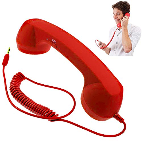 Retro Handset, Heyeery Retro Telephone Handset, Cell Phone Receiver for Cellphone, Classic Headphone MIC Microphone for 3.5mm Jacks Phone (Red)