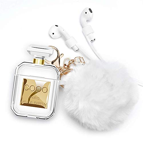Lastma AirPods Perfume Bottle Case Silicone Soft Skin Shockproof AirPods 2 Case with Cute Fur Ball Keychain Strap Design for Girls and Women - Perfume Bottle