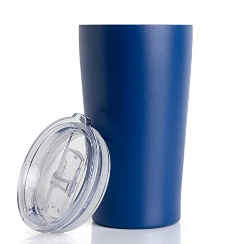 16oz Tumbler Double Wall Vacuum Insulated Coffee Mug Stainless Steel Coffee Cup with Lid, Travel Mug Works Great for Ice Drink, Hot Beverage (2 pack, Dark blue)
