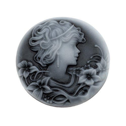 (Beadaholique Vintage Style Round Lucite Cameo - Black with Gray Woman and Flowers 32mm (2))