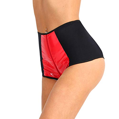 (YOOJIA Women's High Waisted Shiny Metallic PVC Leather Zipper Crotch Rave Booty Shorts Hot Pants Clubbing Costumes Black & Red Medium (Waist 23.0