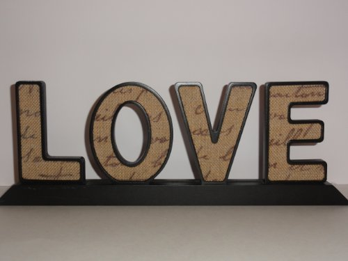 Love Burlap Script Words V-day Gift Decor Black Wooden Romantic Table Top Plaque Wood Artwork Home Accent Decorative Shabby Chic Art (Commercial Wooden Table Tops compare prices)