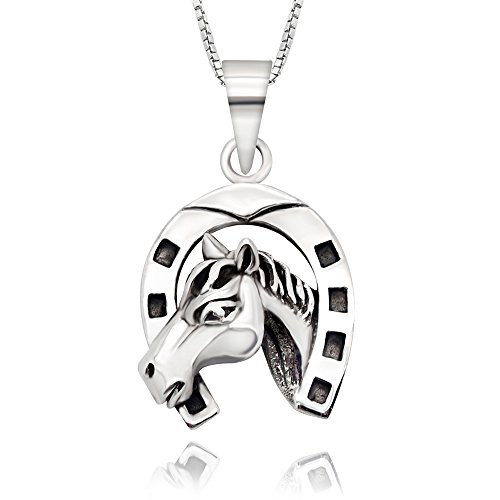Horse Pendent (925 Sterling Silver Lucky Horseshoe Horse Pendent Necklace, 18