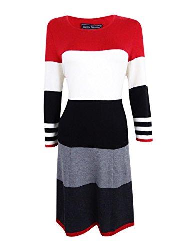Jessica Howard Women's Striped Fit & Flare Sweater Dress (L, Red)