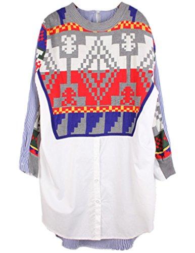 JOLLYCHIC Women's Geometric Print O-Neck Loose High-low Hem Design Long Blouse Size 4 US White